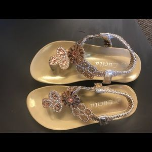 Other - Toddler girls size 9 rhinestone gold thong sandals